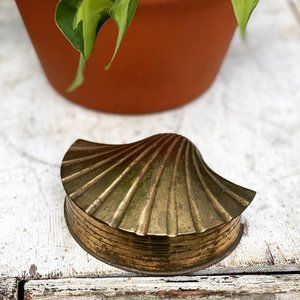 Vintage Brass Seashell Trinket Box Dish Boho Decor